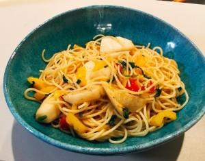 カブとパプリカのスパゲティ